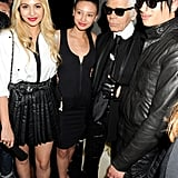 Zara Martin, Leah Weller, Karl Lagerfeld, and Natt Weller