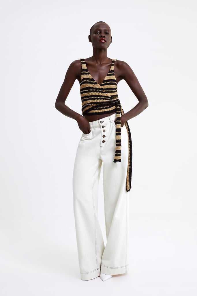 Zara Pants With Contrasting Piping