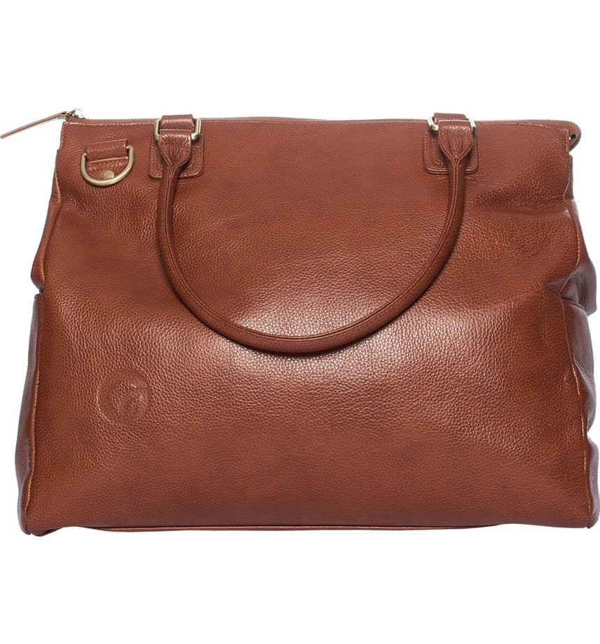 Infant Oemi Baby 'Brownstone' Leather Diaper Bag