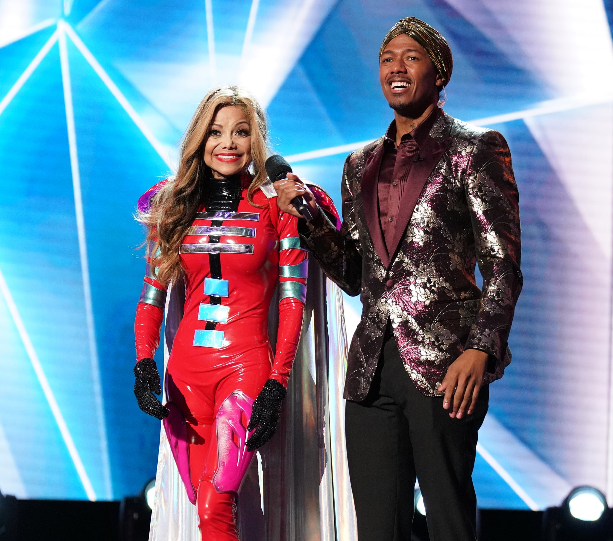 THE MASKED SINGER: L-R: La Toya Jackson and   host Nick Cannon in the