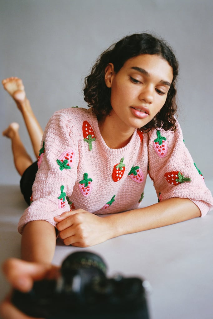 Zara Strawberry Knit Sweater