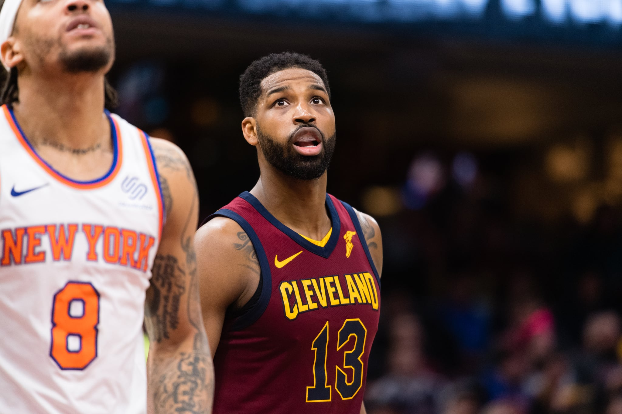 CLEVELAND, OH - APRIL 11: Tristan Thompson #13 of the Cleveland Cavaliers waits for a rebound after a free throw during the second half against the New York Knicks at Quicken Loans Arena on April 11, 2018 in Cleveland, Ohio. The Knicks defeated the Cavaliers 110-98. NOTE TO USER: User expressly acknowledges and agrees that, by downloading and or using this photograph, User is consenting to the terms and conditions of the Getty Images License Agreement. (Photo by Jason Miller/Getty Images)