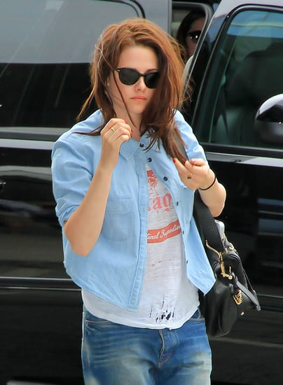 Photos Of Kristen Stewart Rocking Boyfriend Jeans At JFK Airport