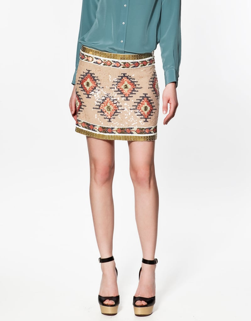 Pair this printed mini with a denim button-down or plain white tee.  Zara Printed Sequined Skirt ($129)