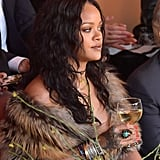 Rihanna Drinking Wine at Dior Fashion Show May 2017