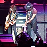 Johnny Depp played guitar with Aerosmith on stage in LA.