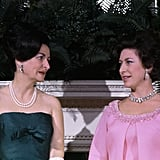 """Princess Margaret speaks with First Lady Claudia Alta """"Lady Bird"""" Johnson at the White House."""