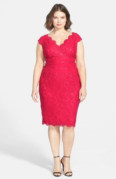 Tadashi Shoji Plus Size Lace Sheath Plus Size Dresses For Summer