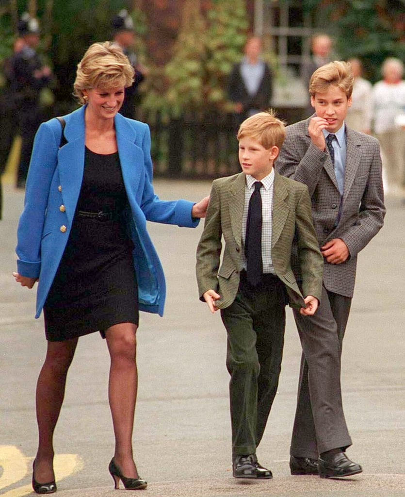 Princess Diana put a supportive hand on Harry's back on the day he joined Eton in 1995.