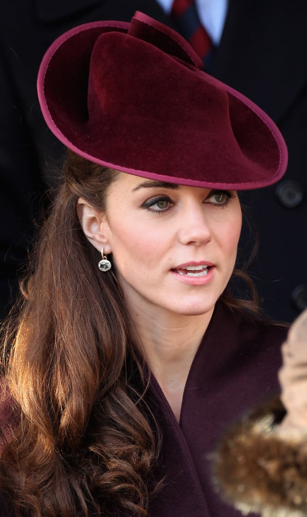 Kate wore her specially customized green amethyst earrings for the first time to the Sandringham Christmas Day church service in 2011, leading many to believe that they had been a Christmas present from Prince William. They have become a firm favorite and she has worn them many times since.