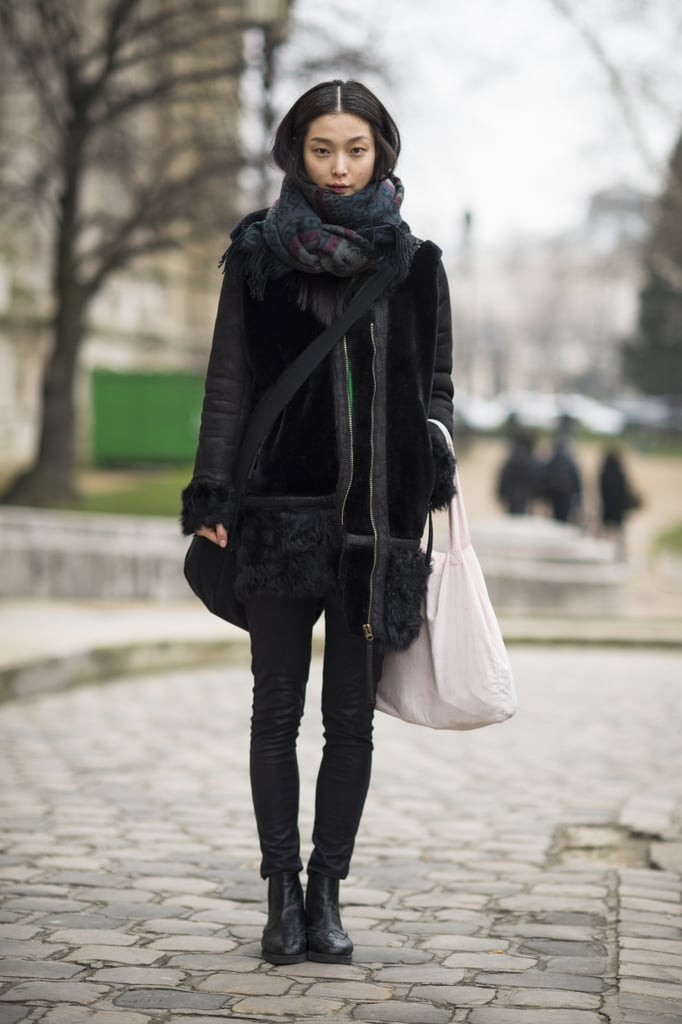 Bundled up in a gorgeous furry coat, while slim bottoms and Chelsea boots played to the cool-girl angle.  Source: Le 21ème   Adam Katz Sinding