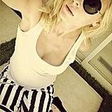 Jaime King took a selfie wearing black-and-white striped Paige Denim with a white tank and round sunglasses.  Shop it: Paige Denim Edgemont striped skinny jeans ($239)  Source: Instagram user jaime_king