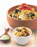 Curried Couscous With Roasted Vegetables, Peach Chutney, and Cilantro Yogurt Recipe