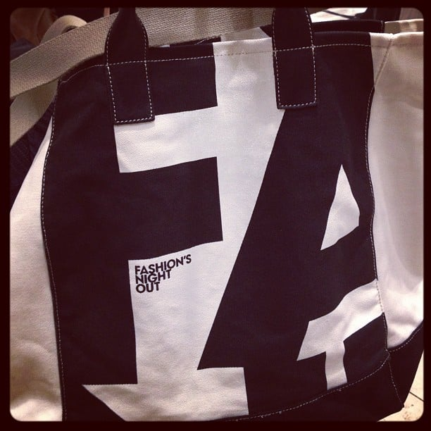 We snatched up this cute FNO canvas tote bag at Zara.