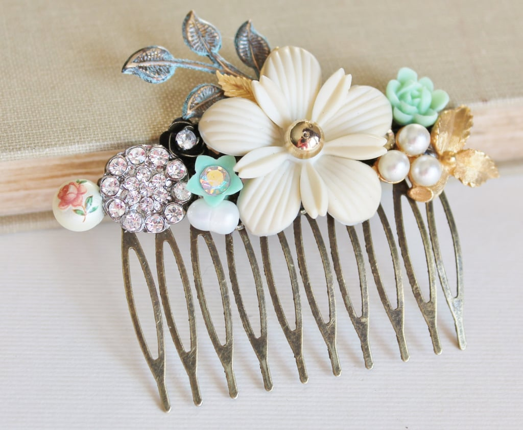 Add a hint of color with an accessory like this vintage bridal hair comb ($52).