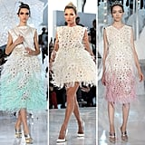 Louis Vuitton's color-dipped feathered frocks had a flirty, youthful appeal.
