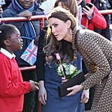 Kate Middleton said hello to kids while decked out in Orla Kiely.