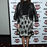Alexa made a leather biker jacket and a girlie skirt totally work at a Teen Vogue event in October 2013.