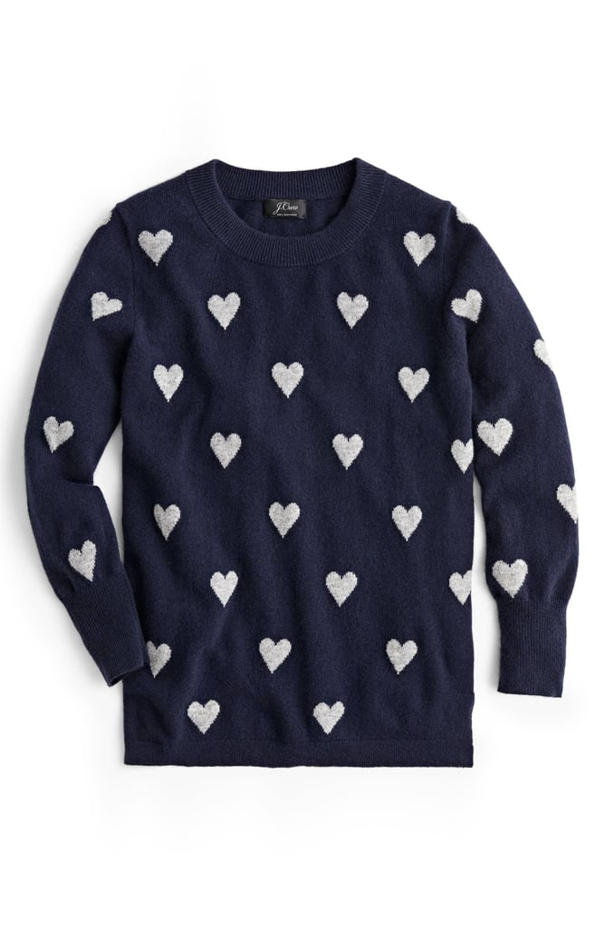 J.Crew Intarsia Hearts Everyday Cashmere Sweater