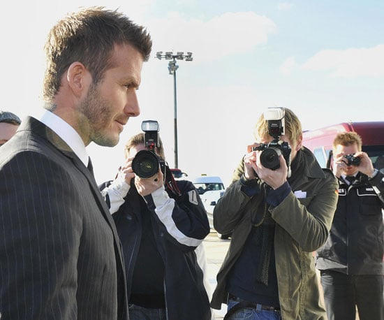 Photo of David Beckham Arriving in Germany with AC Milan