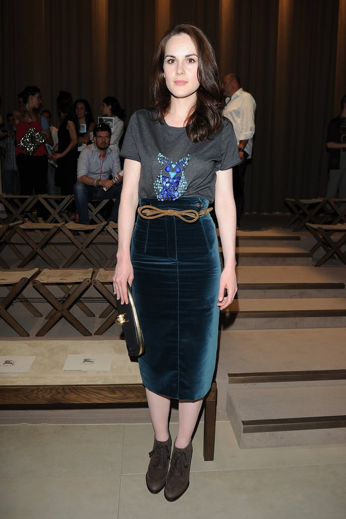 Michelle Dockery font row at the Burberry Prorsum Men's Spring 2013 show in Milan.