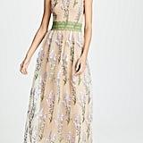 Costarellos Crew Neck Lavender Embroidered Dress