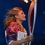 Russian tennis player and Olympic medalist Maria Sharapova ran with the torch.