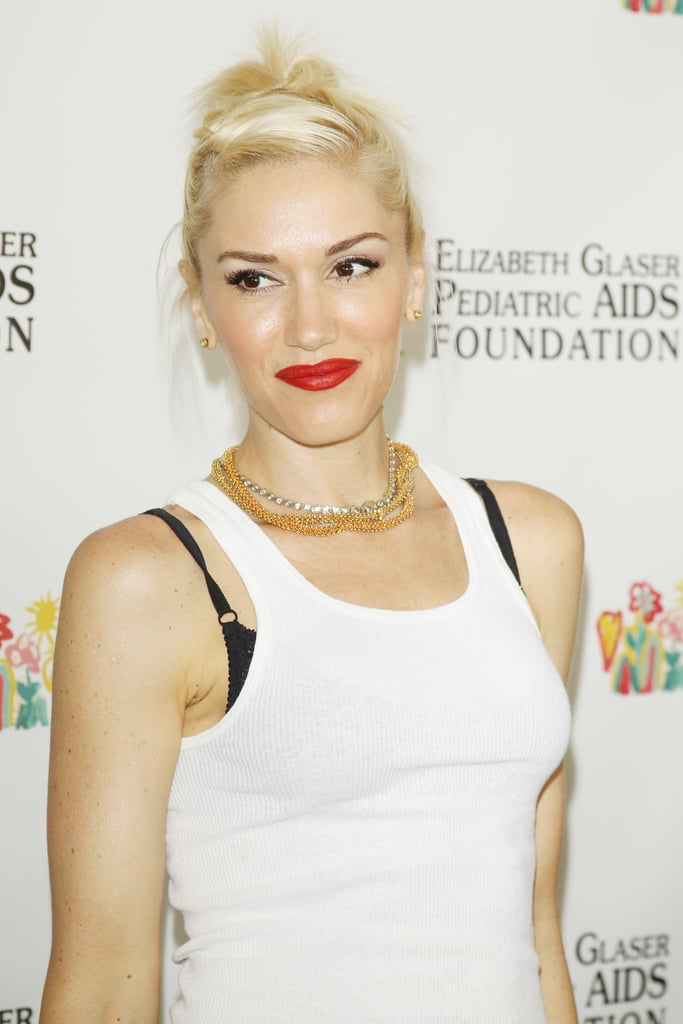 Gwen Stefani had on bright red lipstick for the annual A Time For Heroes Celebrity Picnic in LA.