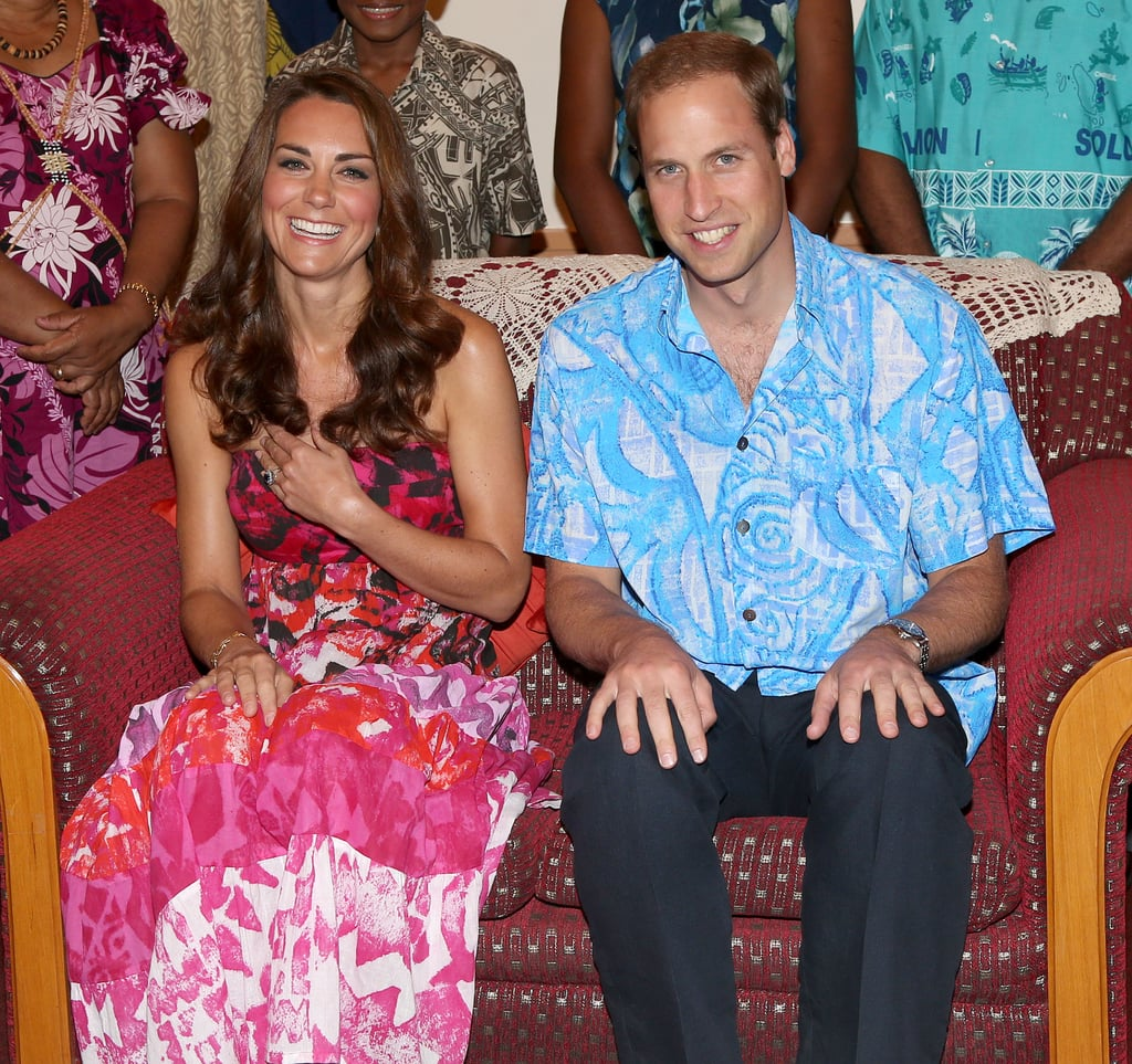 They both wore printed ensembles at the Solomon Islands in Sept. 2012.