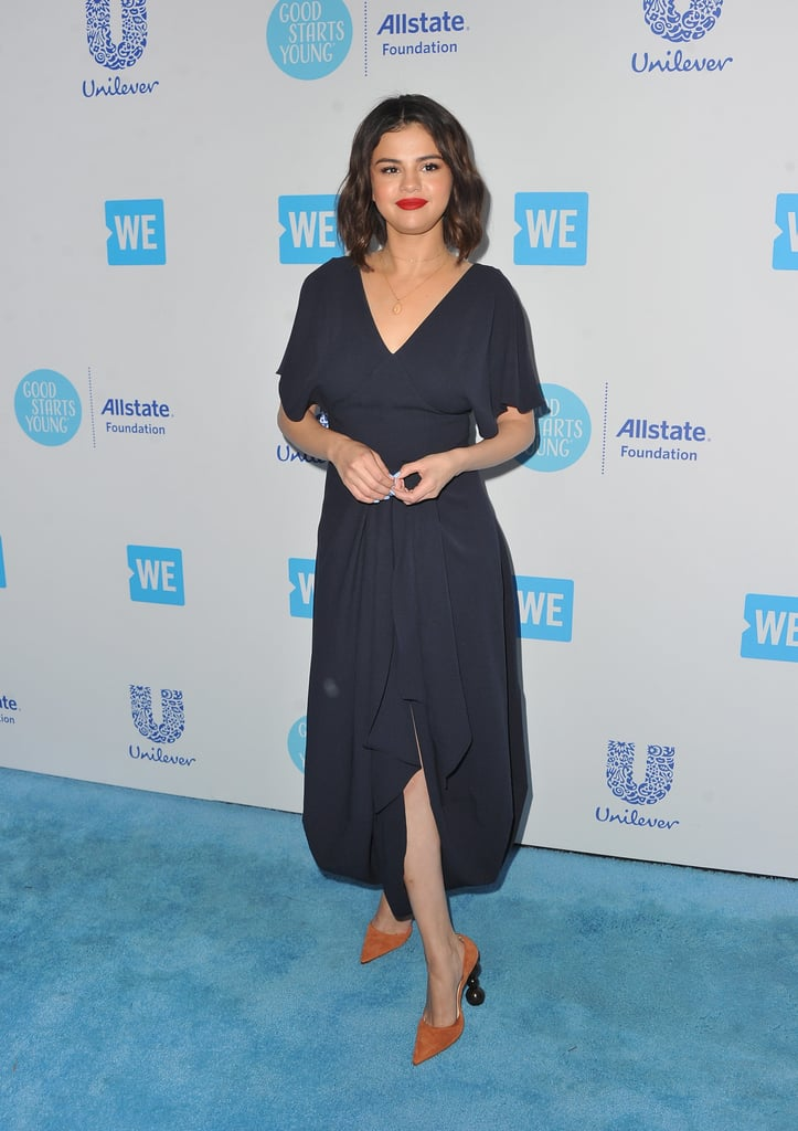 a09f63ac678 Selena Gomez Brown Heels at We Day 2018