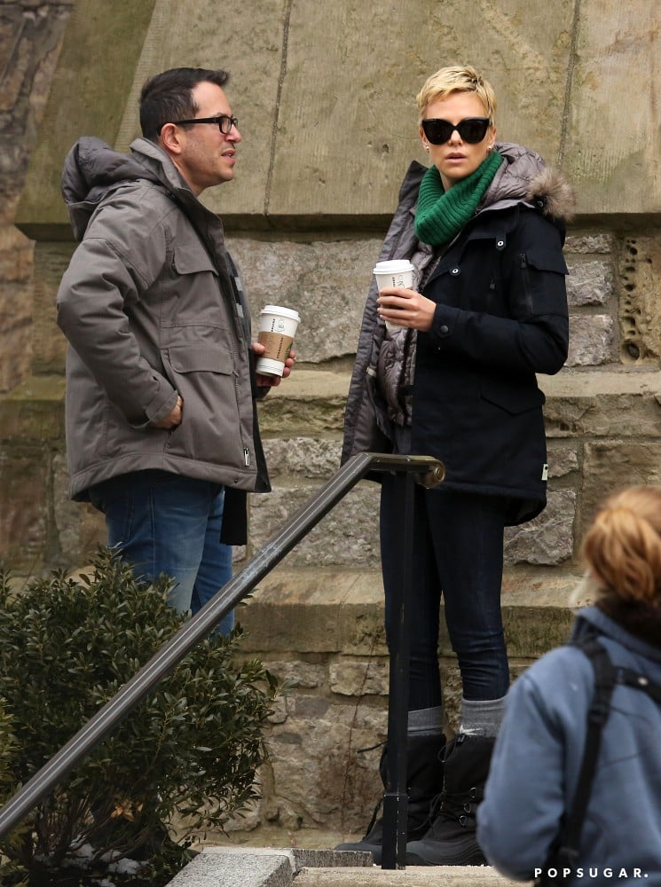 Charlize Theron stepped out in Boston on the set of Hatfields & McCoys.