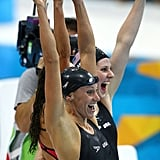 Dana Vollmer and Missy Franklin were having a blast cheering as they realized they'd won the women's 4x100m medley relay — also setting a new world record in the event!