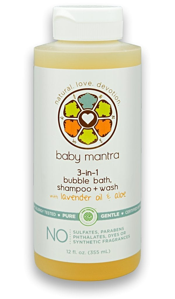 Baby Mantra Natural 3-in-1 Bubble Bath, Shampoo, and Body Wash with Lavender Oil and Aloe Vera ($13)