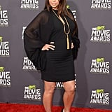 Pregnant Kim Kardashian wore an LBD to the MTV Movie Awards.