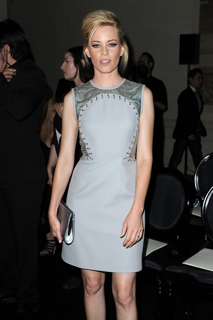 Elizabeth Banks posed at the Versace fashion show in Paris.