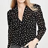 Rebecca Taylor Dot V-Neck Silk Blouse