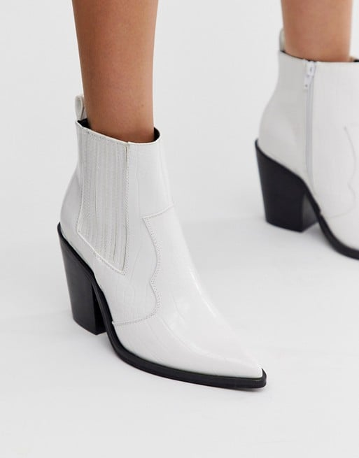 ASOS Design Elliot Western Boots in White Croc