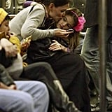 Katie Holmes and Suri Cruise Kiss on the Subway | Pictures