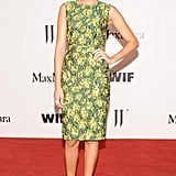 Ashley Madekwe looke lovely in a Max Mara green, silk taffeta, floral-print sheath and metallic ankle-strap heels. Source: Owen Kolasinski/BFAnyc.com
