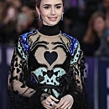 Lily Collins Gown With Hands and Heart 2019