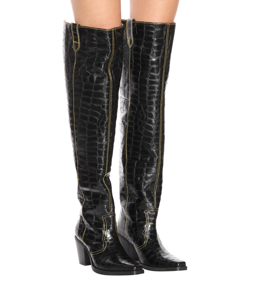 402c0fff30 Kylie Jenner Black Thigh-High Cowboy Boots | POPSUGAR Fashion