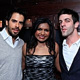 Mindy was flanked by her fine looking friends Eli Roth and B.J. Novak.