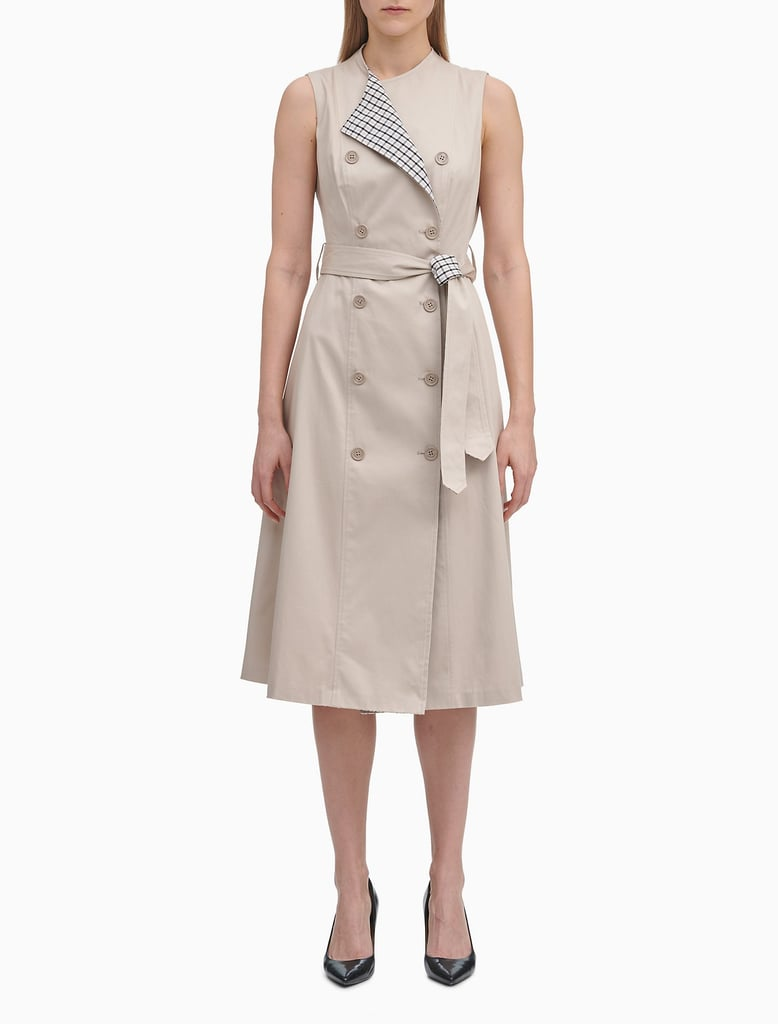 Calvin Klein Belted Check-Printed Trench Coat Dress