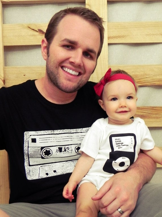 Casette Tape T-Shirt and iPod Onesie Set