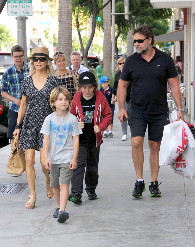 Russell Crowe and Danielle Spencer Shop With Their Boys in LA