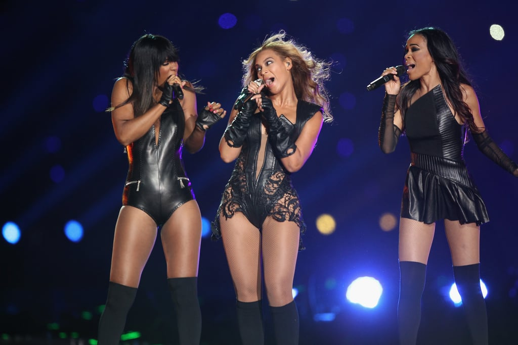 Beyoncé reunited with Michelle Williams and Kelly Rowland to perform at the Super Bowl halftime show in 2013.