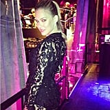 Bar Refaeli showed off a sexy black lace Roberto Cavalli dress. Source: Instagram user barrefaeli