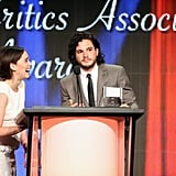 Emilia got a real kick out of Kit when the pair appeared together at the TCA Awards in 2013.