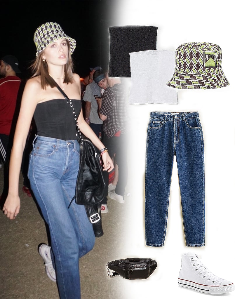 Kaia Gerber Jeans and Tube Top With Bucket Hat at Coachella