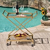 Christopher Knight Home Ishtar Outdoor Powder Coated Iron and Glass Bar Cart